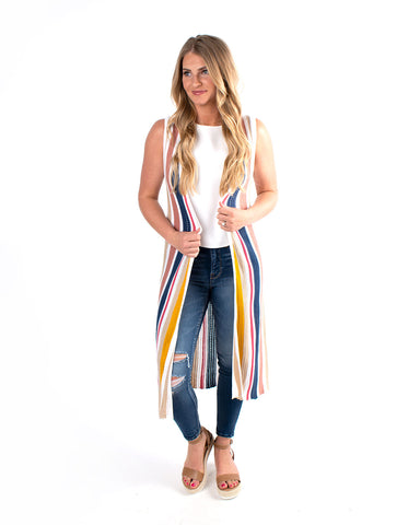 Striped Knit Sleeveless Cardigan