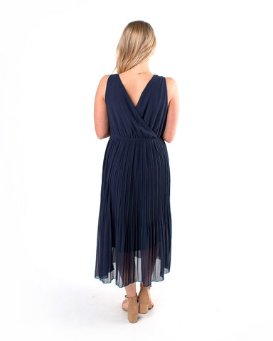 Chiffon Plisse Midi Dress