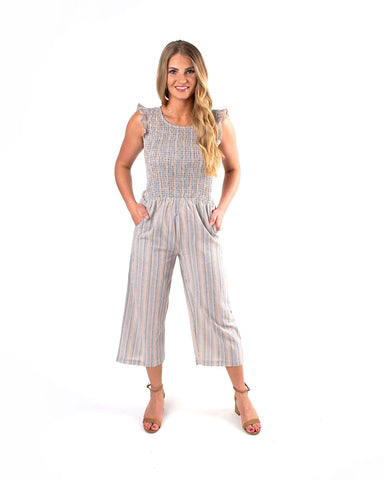 Striped Smocked Ruffle Sleeve Jumpsuit