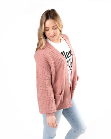 Pom Bubble Sleeve Cropped Cardi