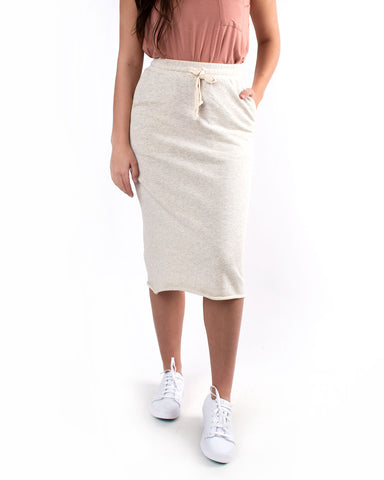 Drawstring Sweater Knit Midi Skirt