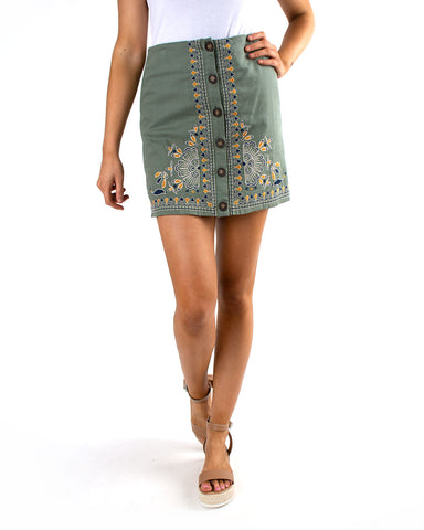 Embroidered Button Up Skirt