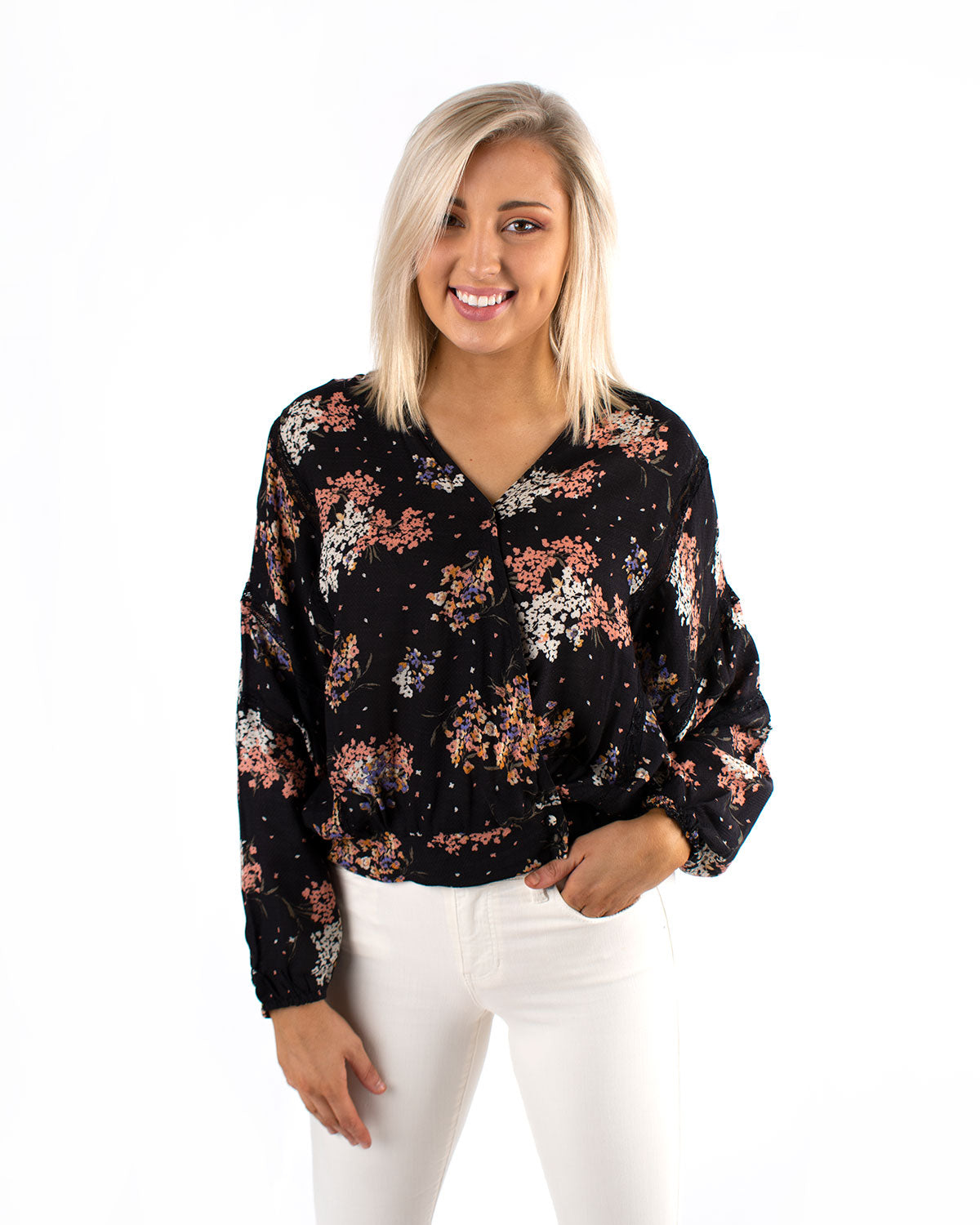 Floral Lace Contrast Top