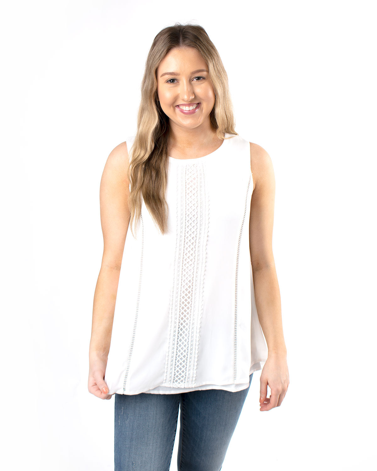 Lace Overlay Flowy Sleeveless Top