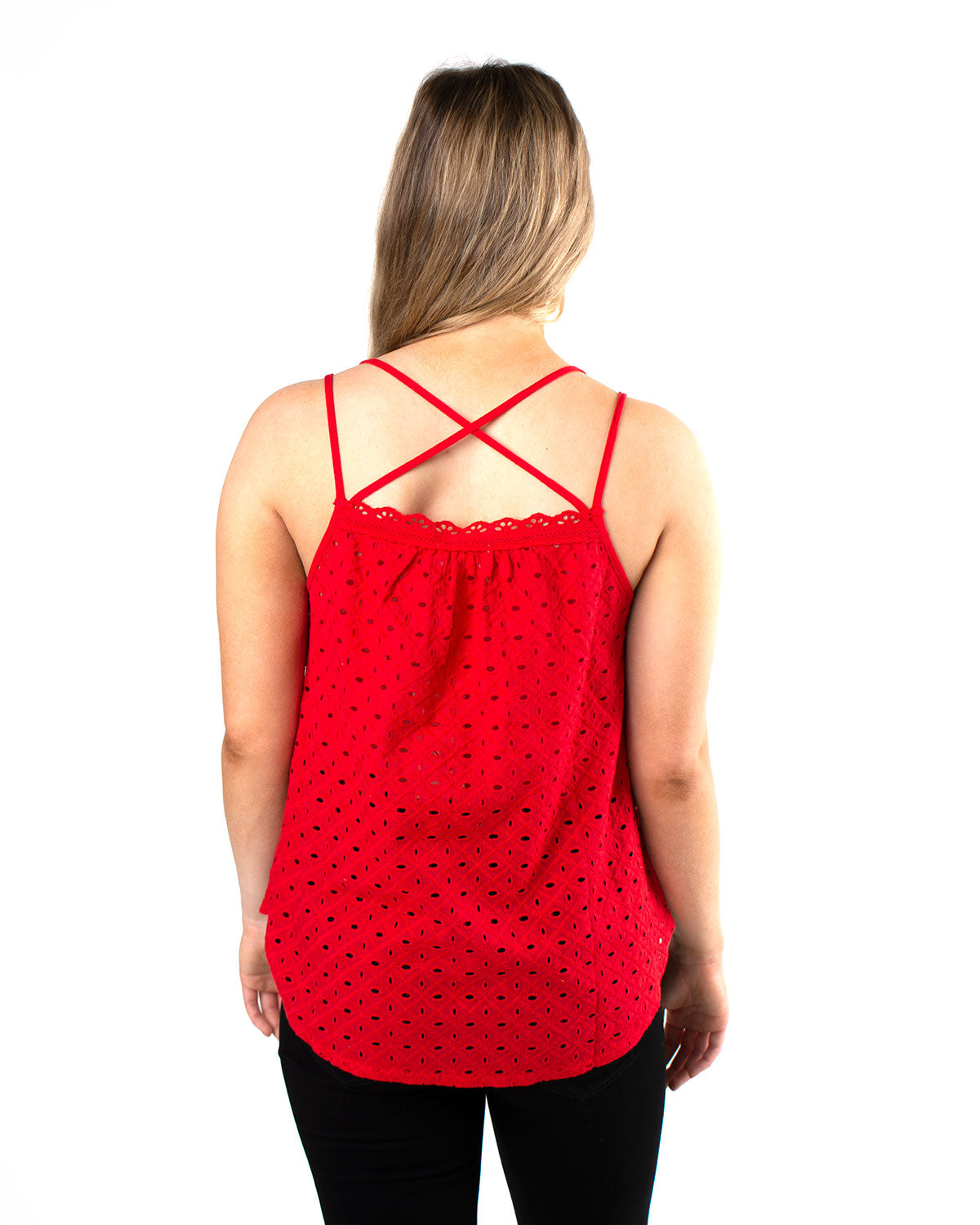 Crossed Halter Eyelet Top