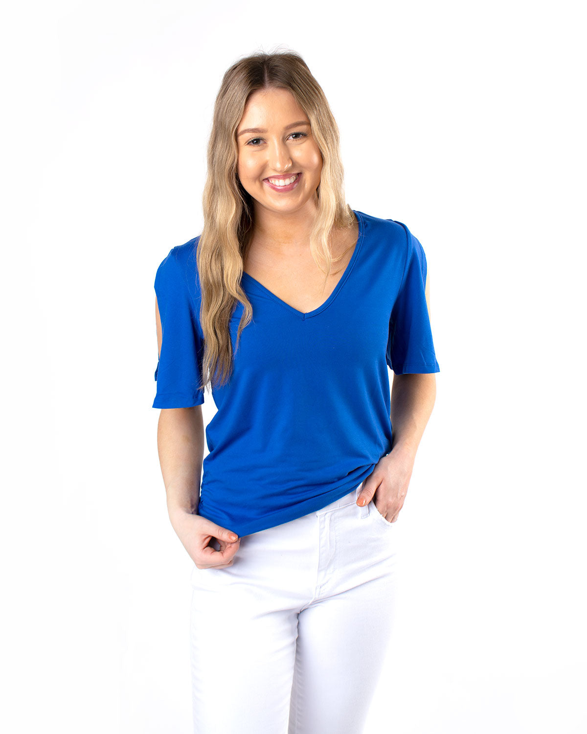 Open Shoulder Short Sleeve Top