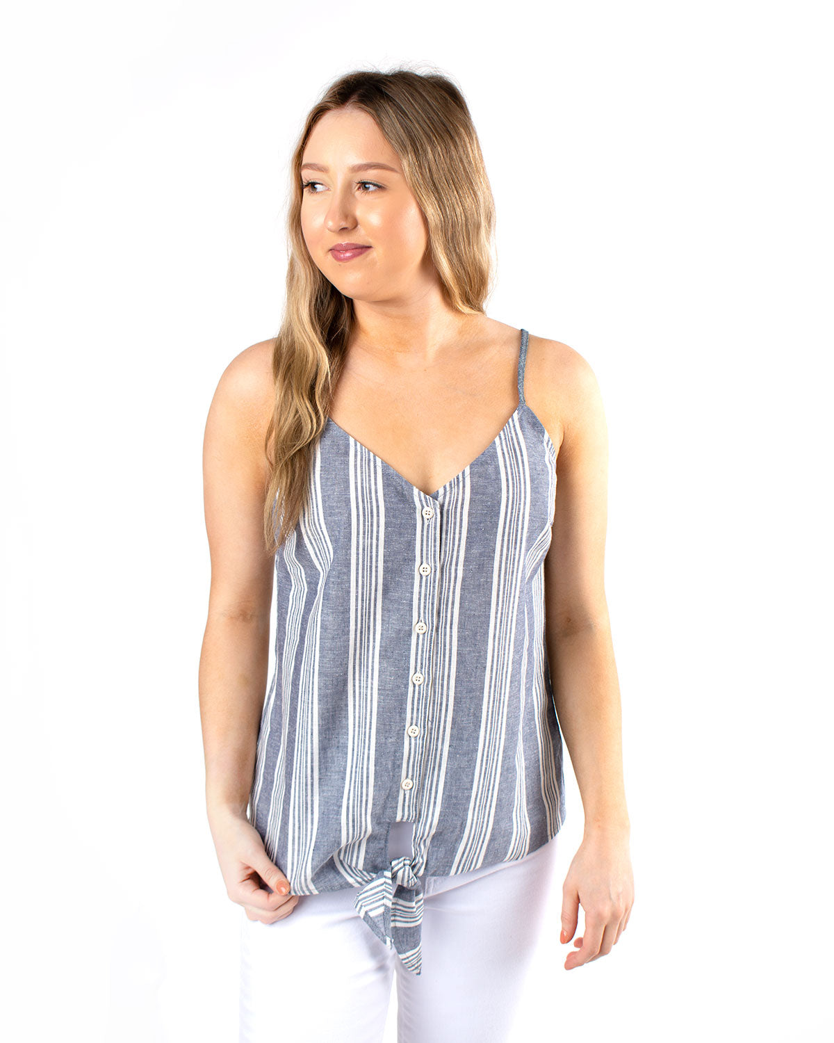 Button Up Front Tie Cami