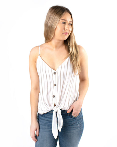 Button Tie Front Sleeveless Top