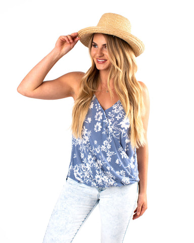 Floral Surplice High-Low Tank