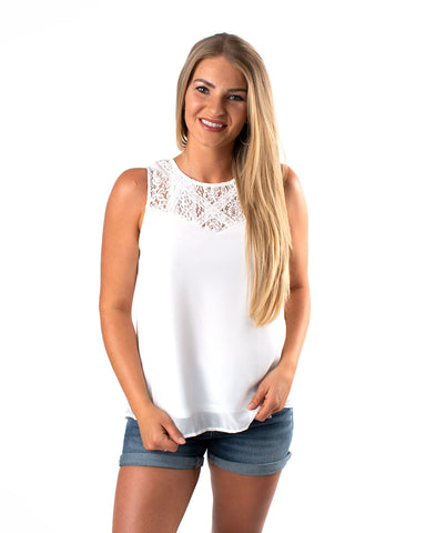 Lace Detail Chiffon Sleeveless Top