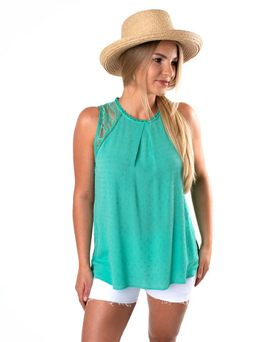Lace Trimmed Sleeveless Dot Top
