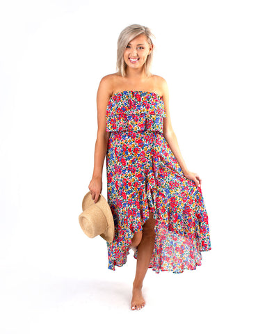 Floral Strapless Ruffle Dress