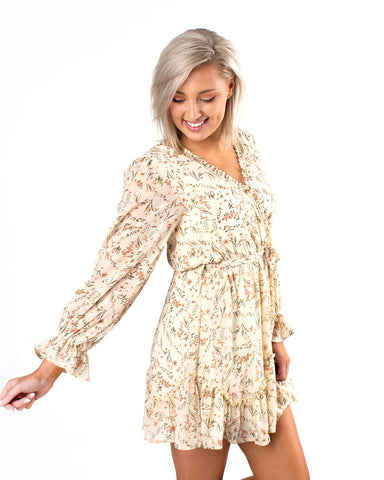 Ditsy Floral Ruffle Chiffon Dress