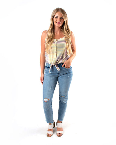 Tie Bottom Stripe Cami