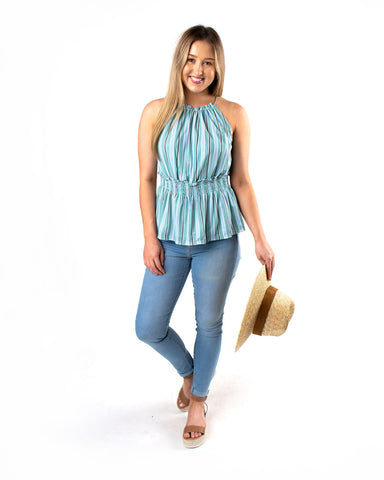 Smocked Waist Peplum Top