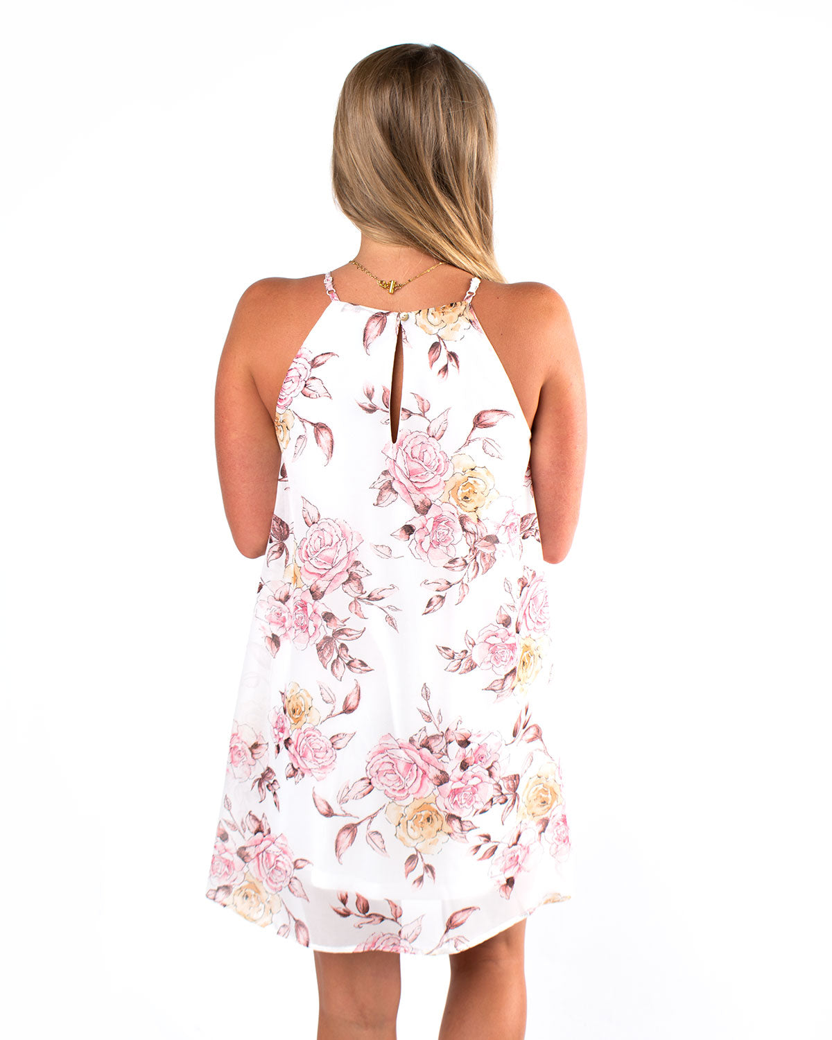 Pleated Halter Neck Floral Dress