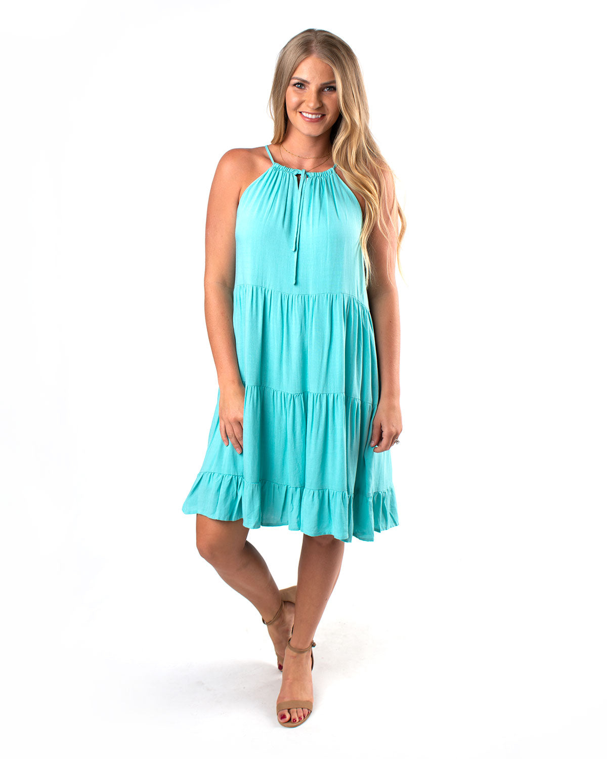 Keyhole Halter Tiered Dress