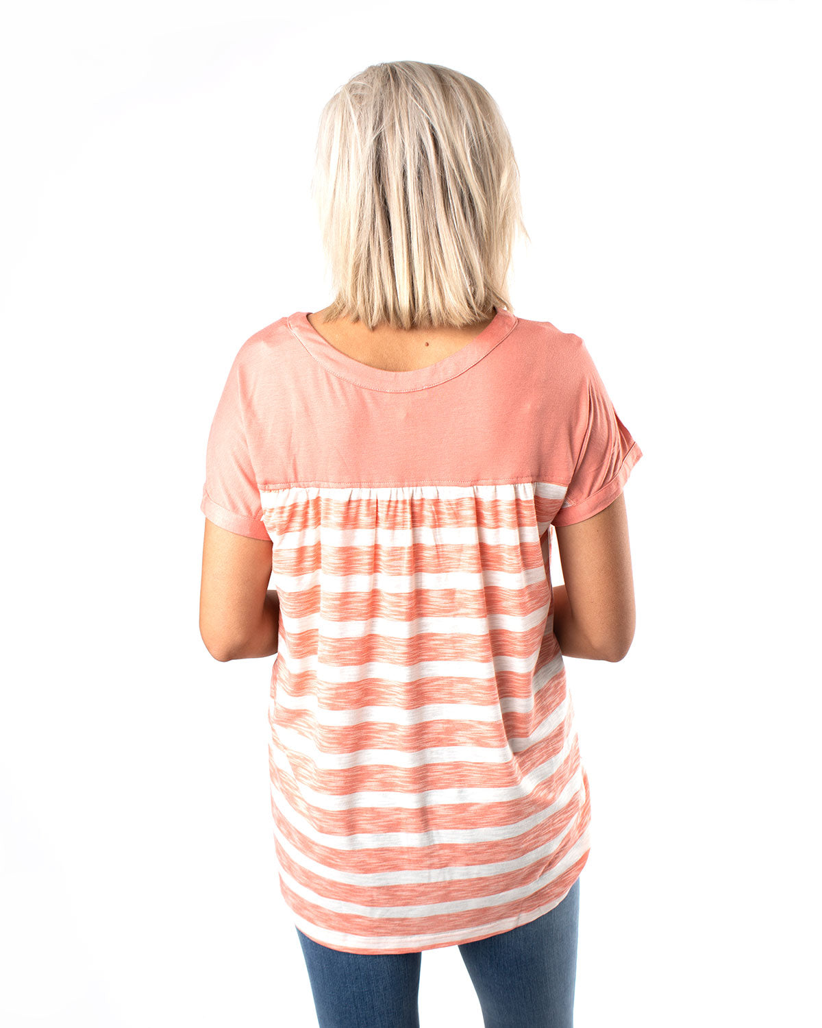 Button Down Striped Jersey Top