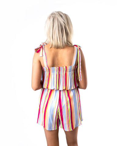 Tie Shoulder Striped Romper