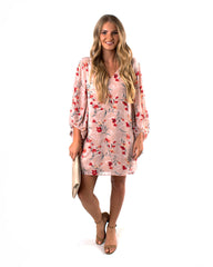 Floral Balloon Sleeve Shift Dress