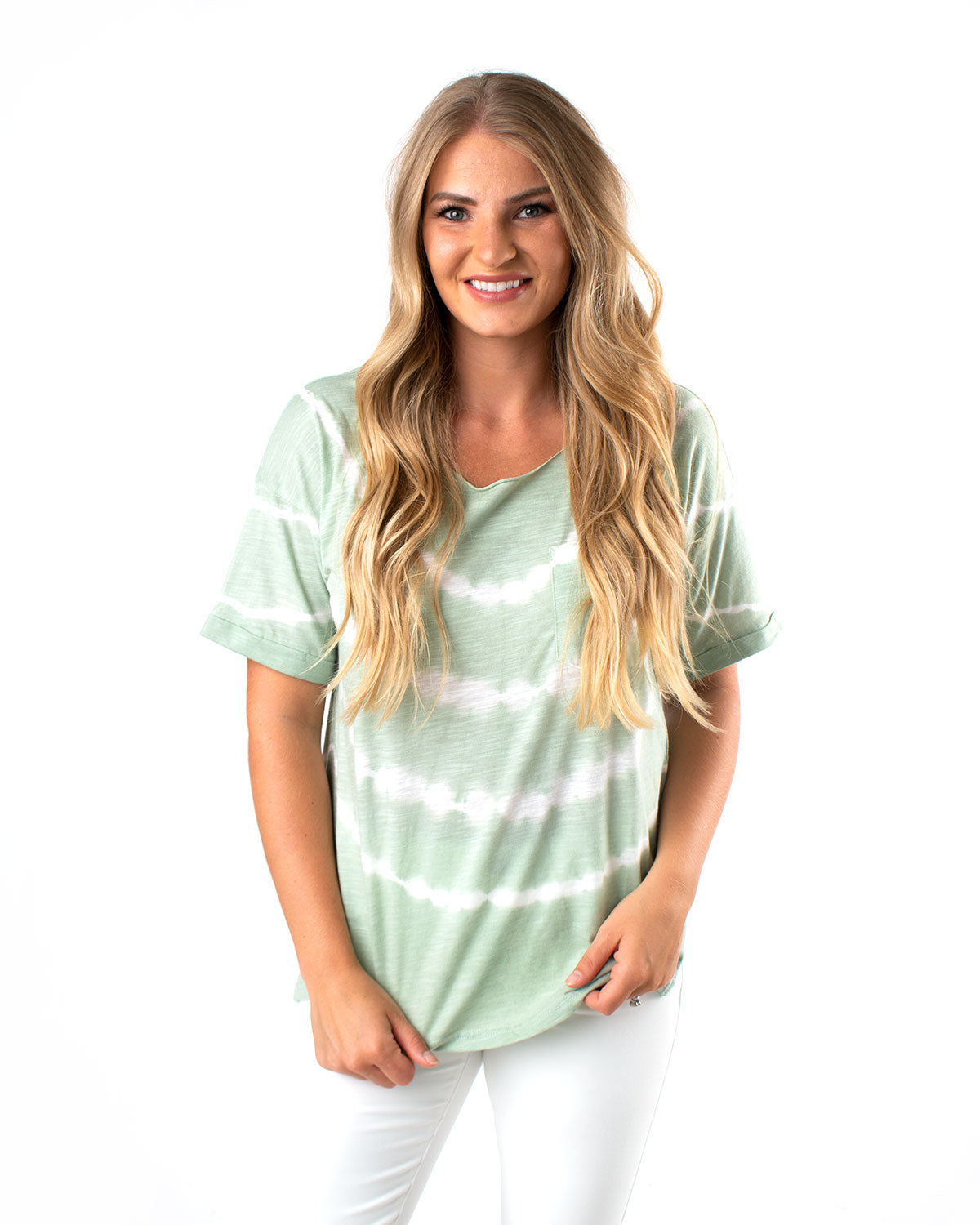 Boat Neck Tie-Dye Pocket Tee