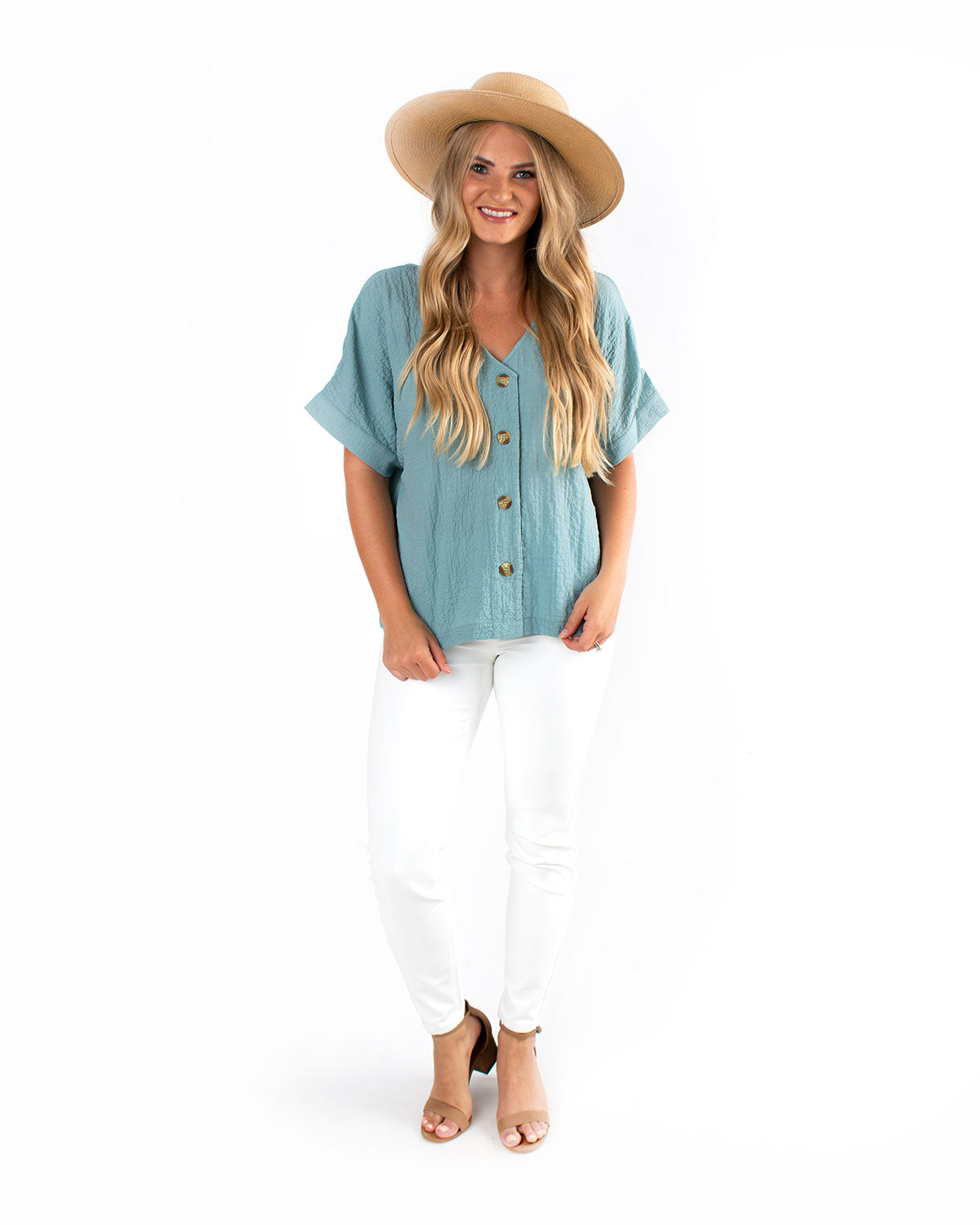 Button Up Textured Blouse