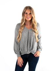 Twisted Front Marled Knit Top