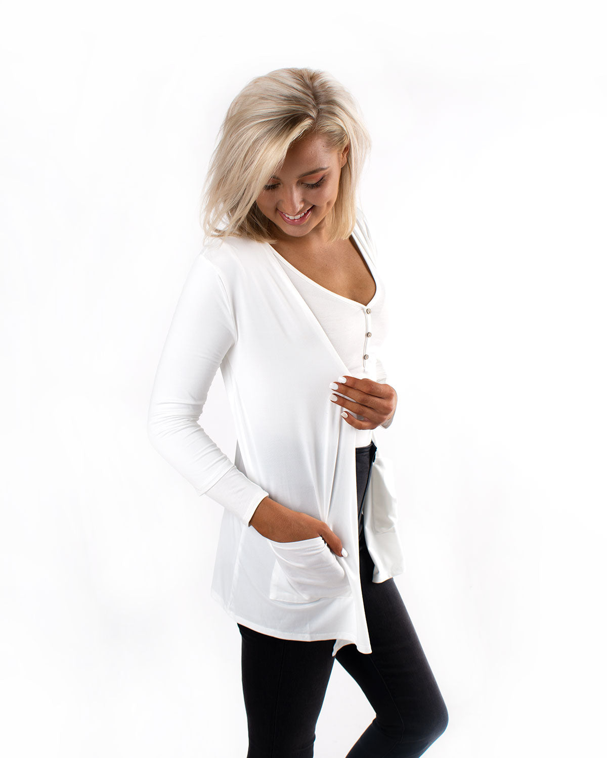 3/4 Sleeve Draped Cardigan