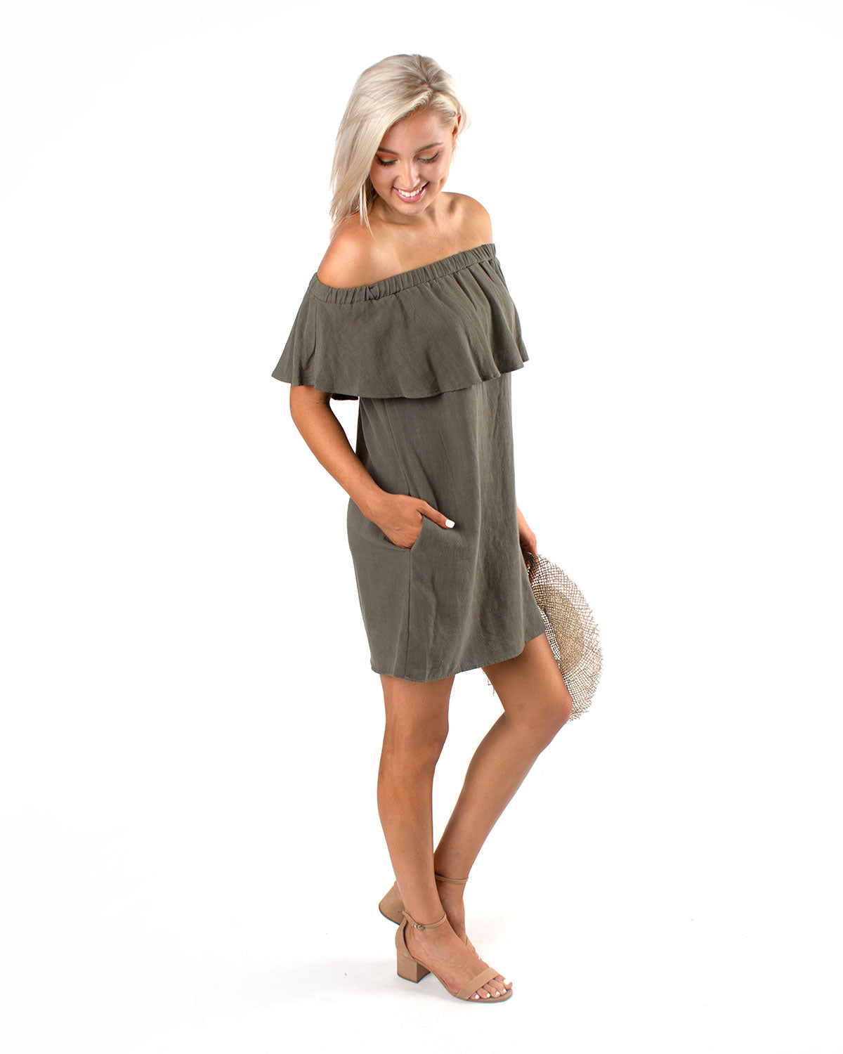 Linen Off The Shoulder Flounce Dress