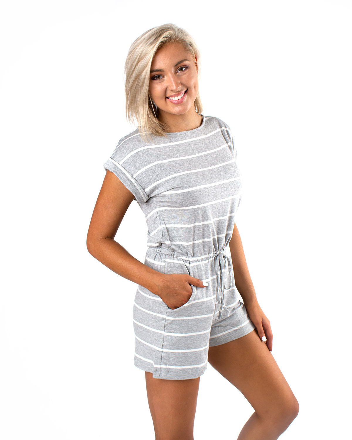 Striped Romper w/ Keyhole Back