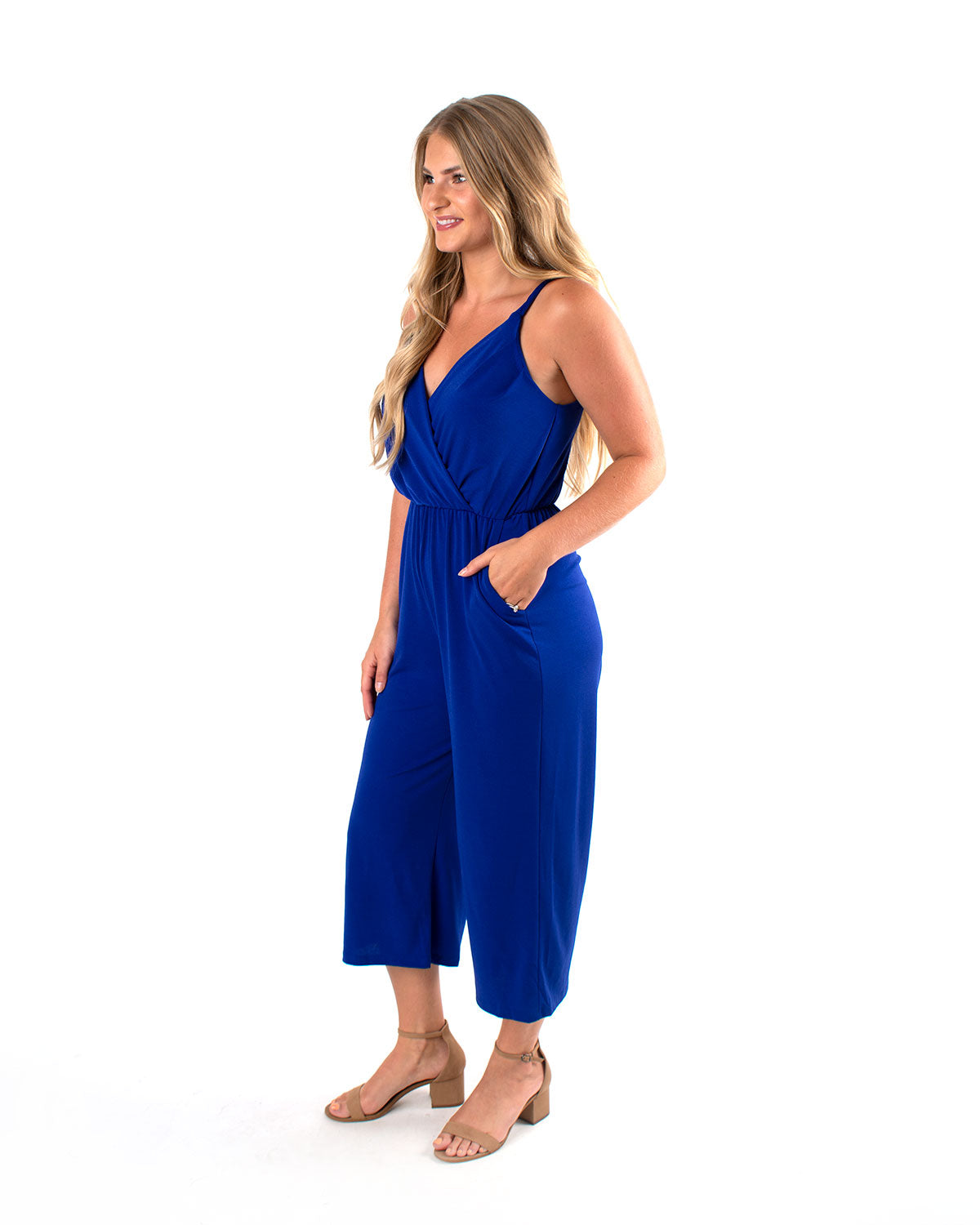 Wide Leg Surplice Jumpsuit