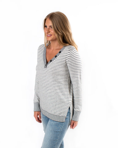 Button Neck Striped Sweater
