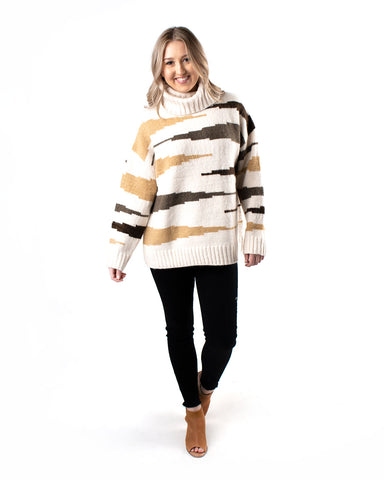 Multi Zebra Turtle Neck Sweater
