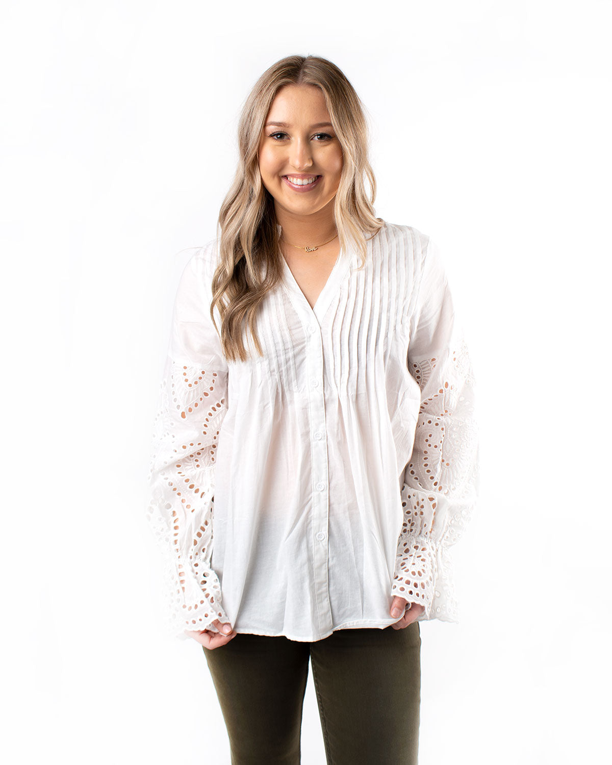 Eyelet Detail Sleeve Button Down
