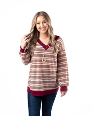 Contrast Hem Striped Long Sleeve