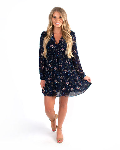 Autumn Floral Chiffon Dress