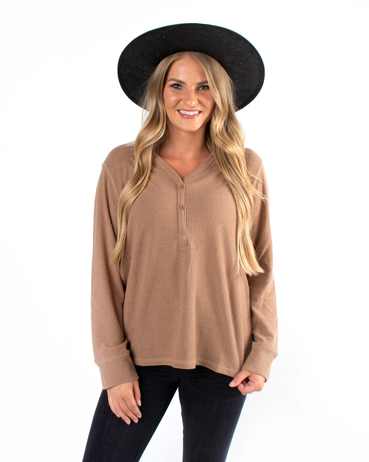 Ribbed Button Detail Long Sleeve