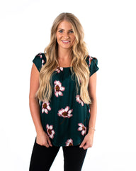 Large Flower Satin Tulip Top