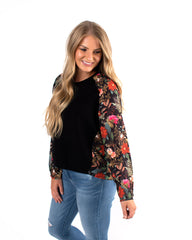 Brambles Crepe Knit Mix Top