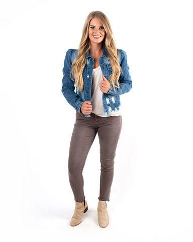 Denim Jacket W/ Puff Sleeves