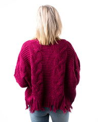 Cable Knit Distressed Hem Sweater
