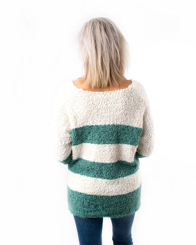 Striped V-Neck Popcorn Sweater