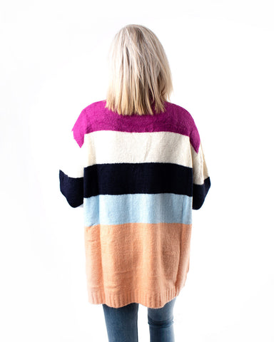 Turtleneck Color Blocked Knit Sweater