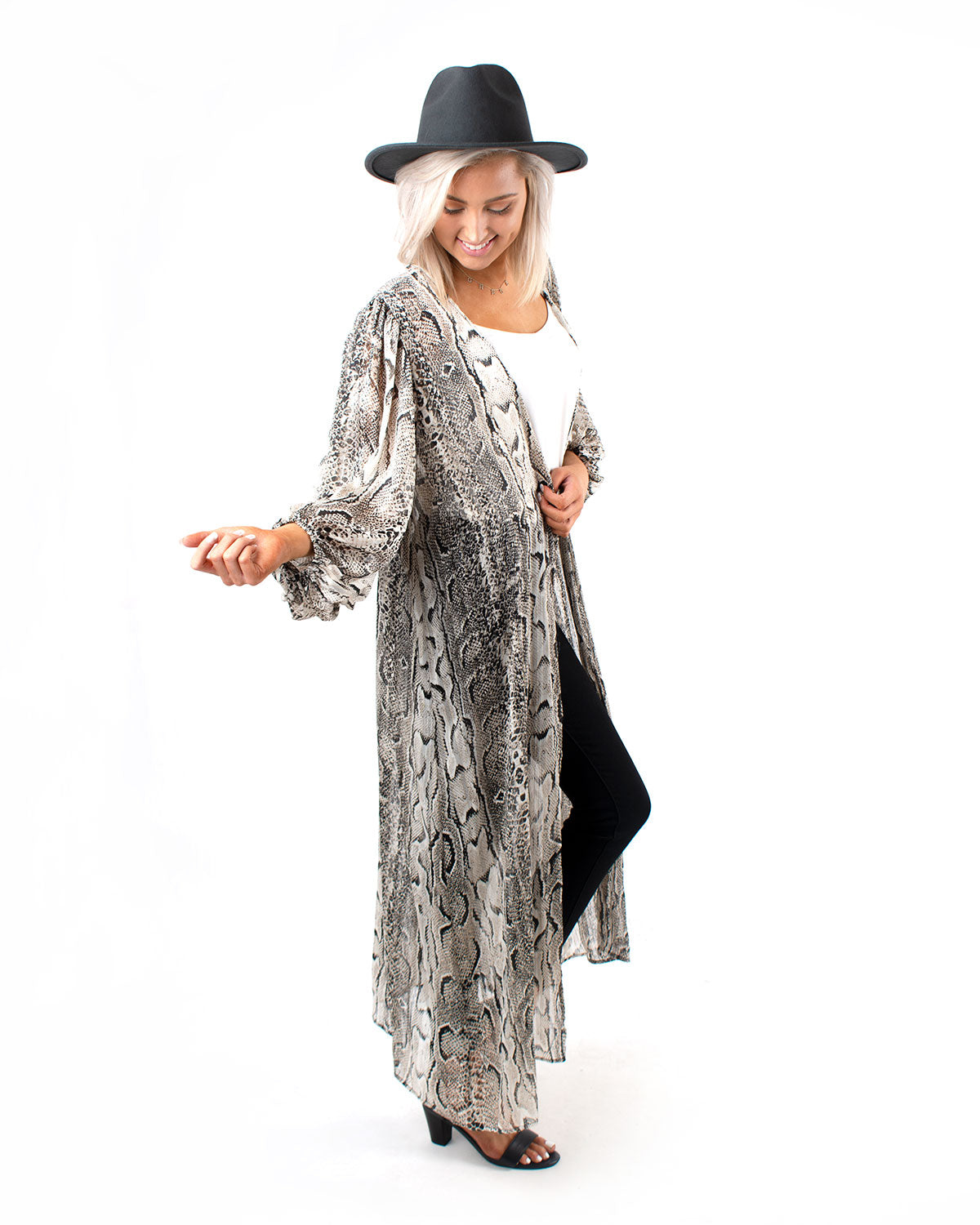 Snake Print Bubble Sleeve Duster