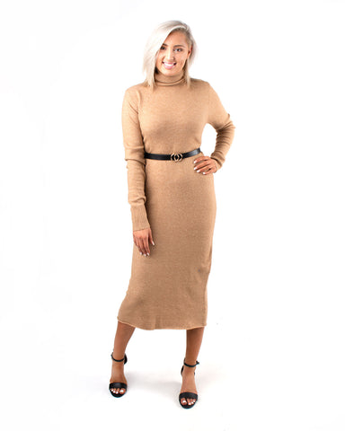 Belted Turtle Neck Sweater Dress