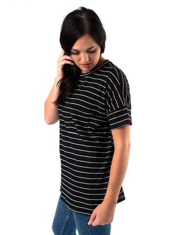 Stripe Front Pocket Knit Top