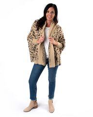 Dolman Sleeve Animal Print Cardigan