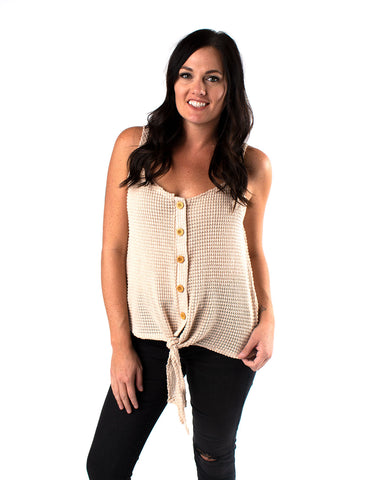 Bold Waffle Tie Front Cami