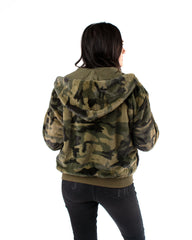 Camo Plush Hooded Bomber Jacket