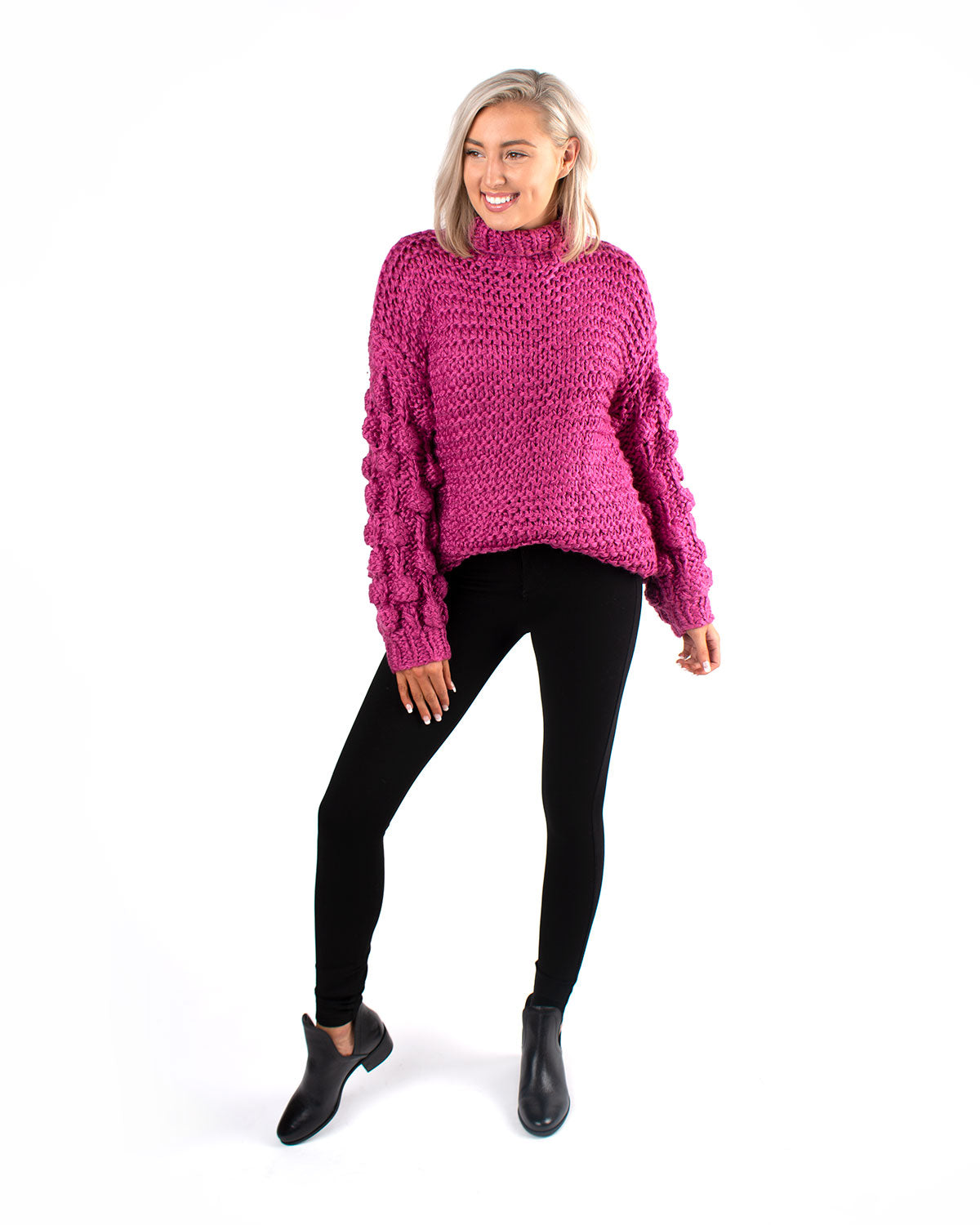 Dot Knit Sleeve Pullover Sweater